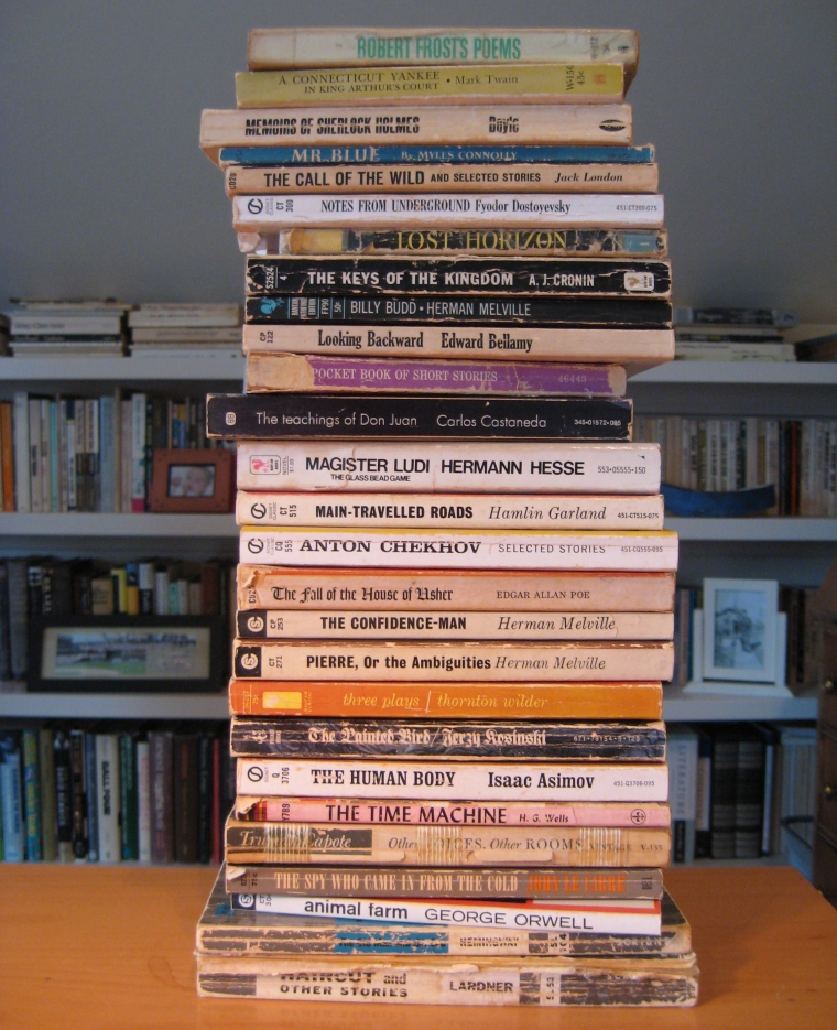 Stack of paperbacks from high school.