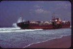 Redondo Barge washed ashore in storm around 1969