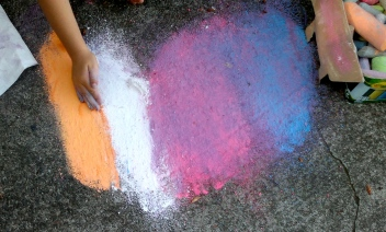 The artist's hand.