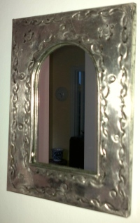 Mirror Frame with Clock and Vase