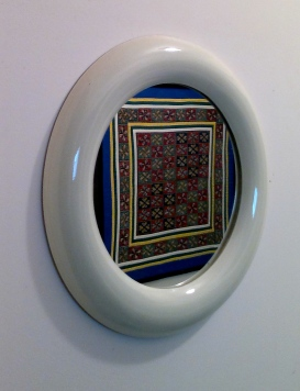 Square Thai Tapestry Reflected in Round Mirror