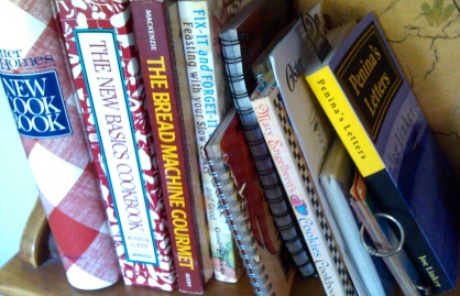 in a row of cookbooks
