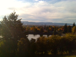Mt Tabor Reservoir # 6, looking west over Southeast Portland to Downtown and West Hills